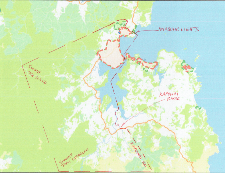 Map of Whitianga Residents and Ratepayers Association boundaries